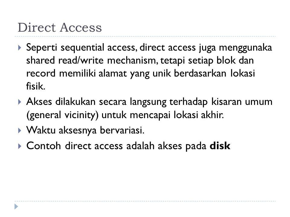 Direct Access Contoh direct access adalah akses pada disk