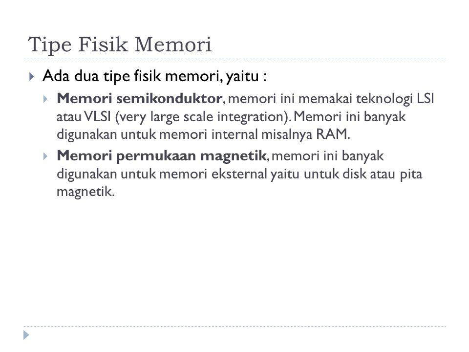 Tipe Fisik Memori Ada dua tipe fisik memori, yaitu :