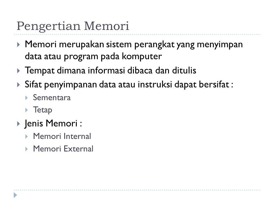 Pengertian Memori Memori merupakan sistem perangkat yang menyimpan data atau program pada komputer.