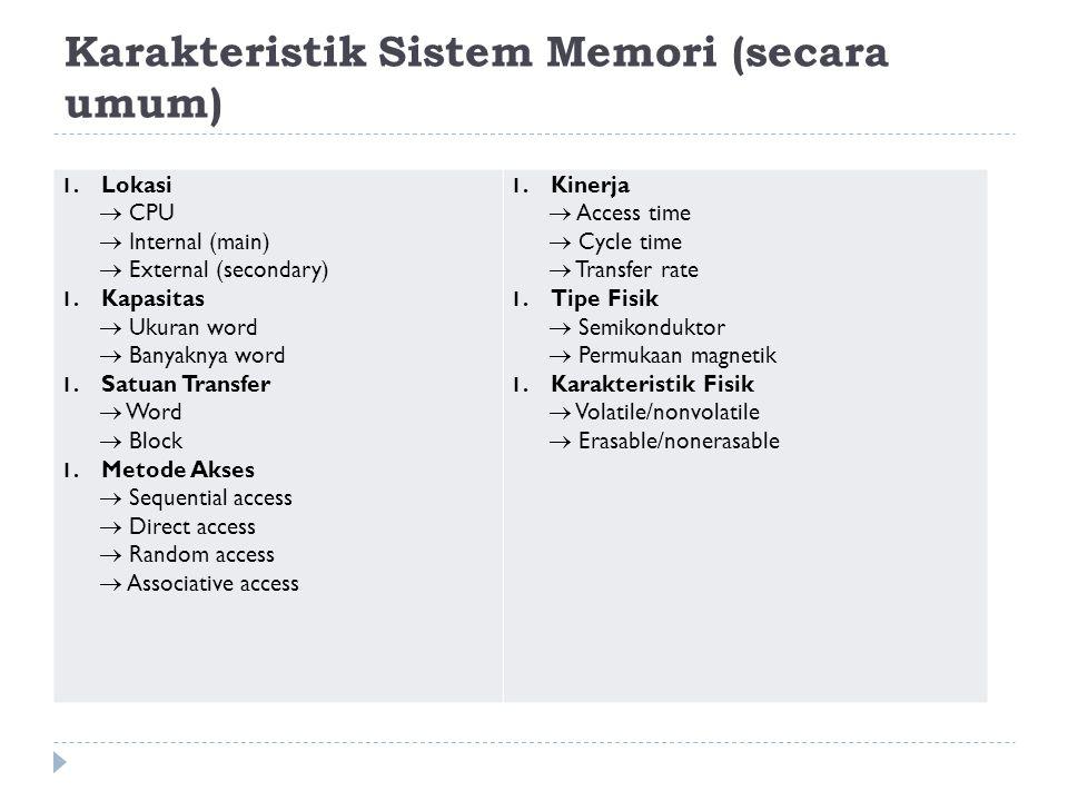Karakteristik Sistem Memori (secara umum)
