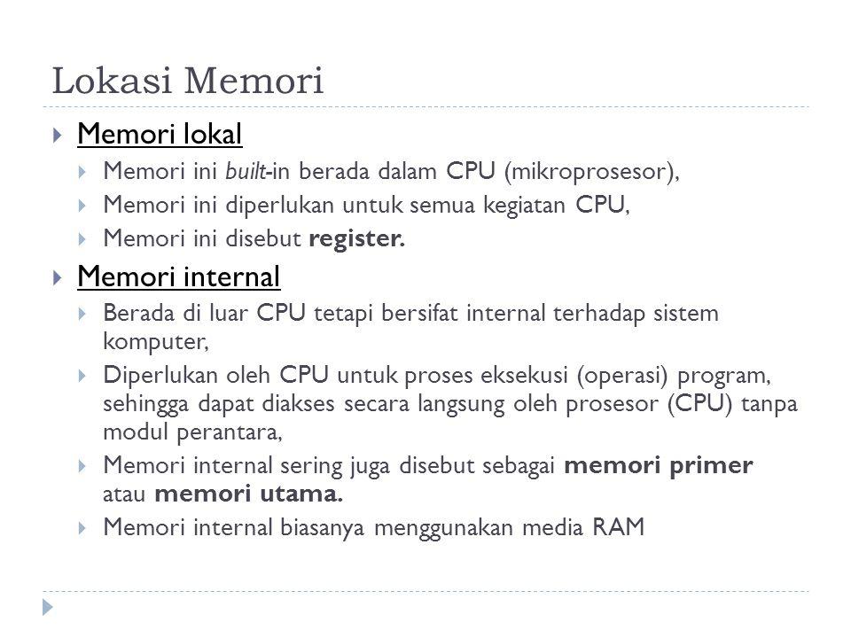 Lokasi Memori Memori lokal Memori internal