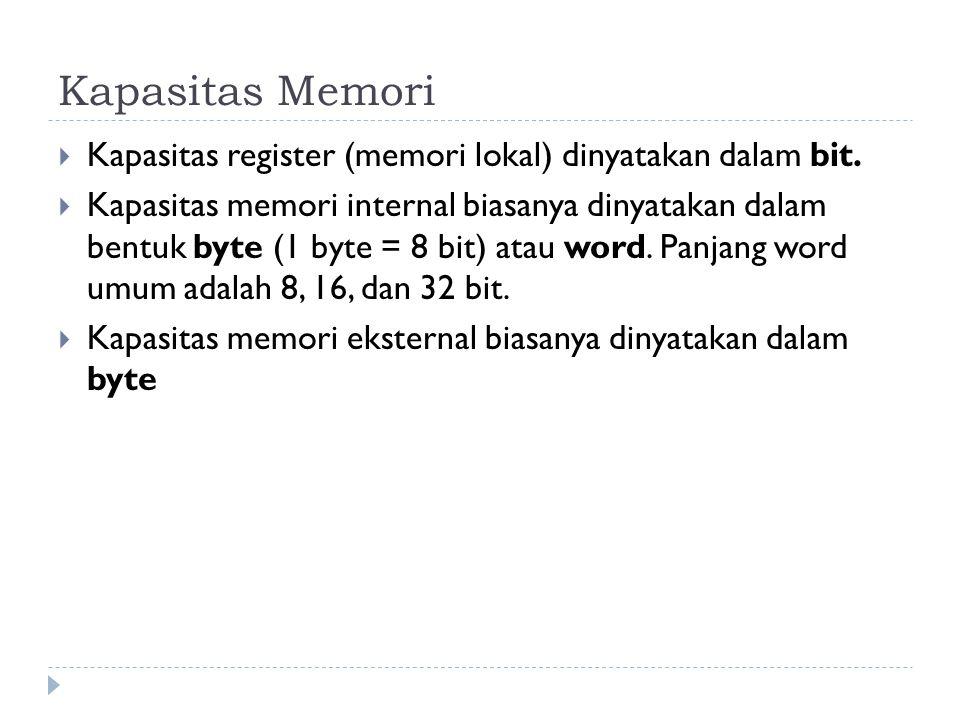 Kapasitas Memori Kapasitas register (memori lokal) dinyatakan dalam bit.