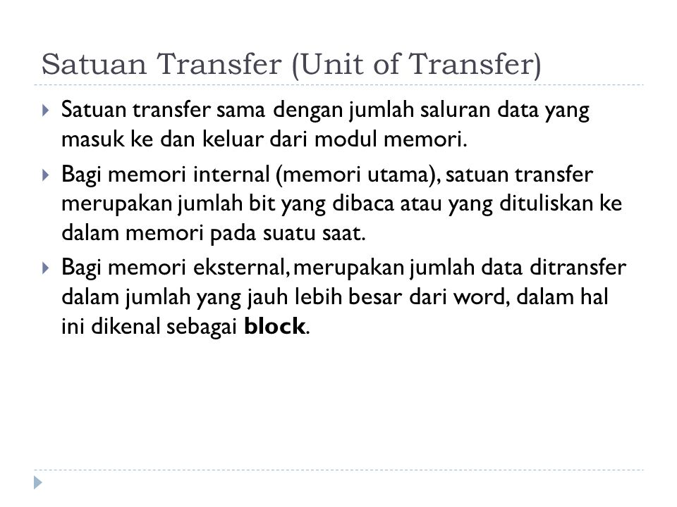Satuan Transfer (Unit of Transfer)