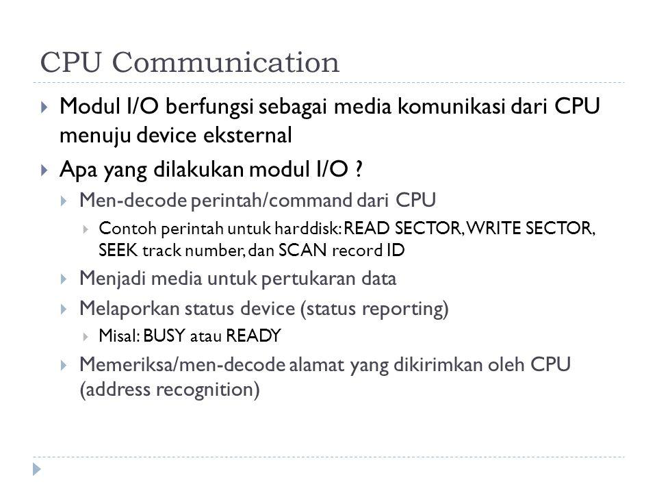 CPU Communication Modul I/O berfungsi sebagai media komunikasi dari CPU menuju device eksternal. Apa yang dilakukan modul I/O