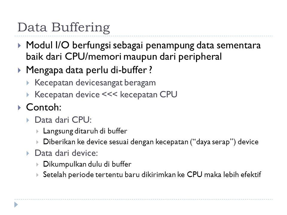 Data Buffering Modul I/O berfungsi sebagai penampung data sementara baik dari CPU/memori maupun dari peripheral.