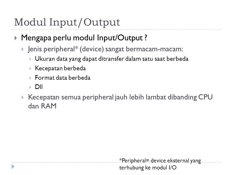 Modul Input/Output Mengapa perlu modul Input/Output