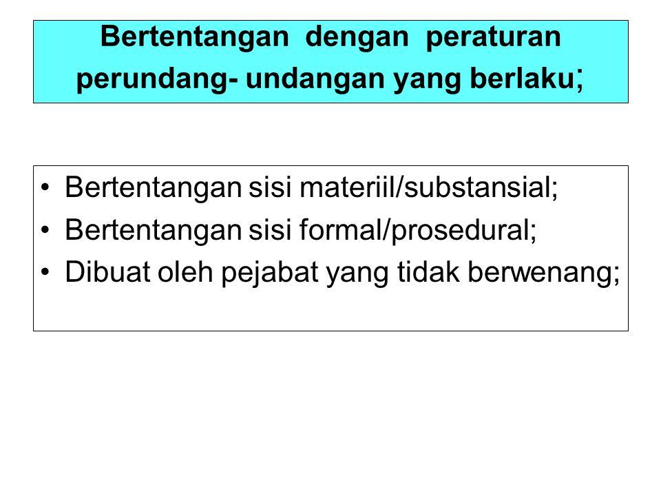 Bertentangan dengan peraturan perundang- undangan yang berlaku;