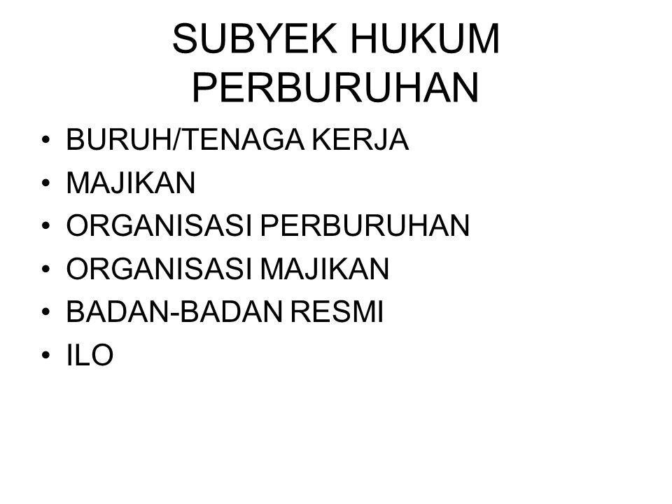 SUBYEK HUKUM PERBURUHAN