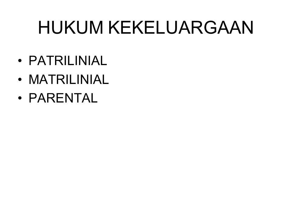 HUKUM KEKELUARGAAN PATRILINIAL MATRILINIAL PARENTAL