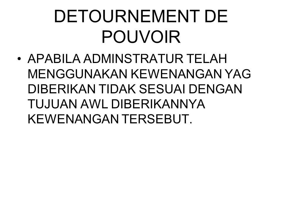 DETOURNEMENT DE POUVOIR