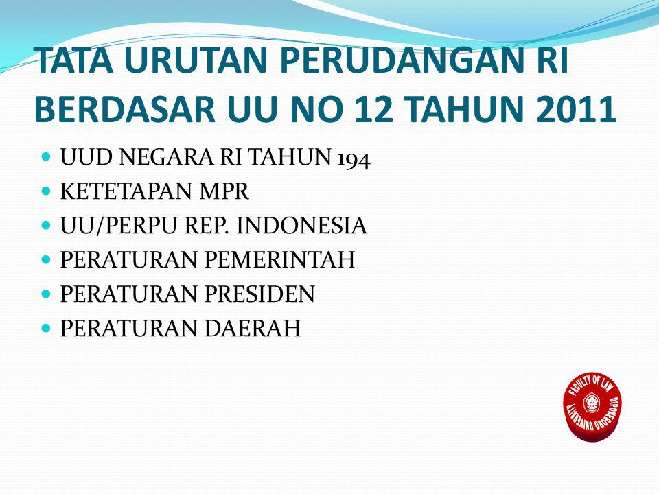 TATA URUTAN PERUDANGAN RI BERDASAR UU NO 12 TAHUN 2011