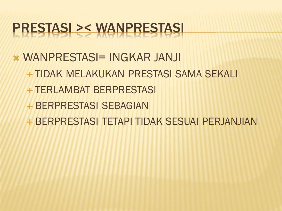PRESTASI >< WANPRESTASI