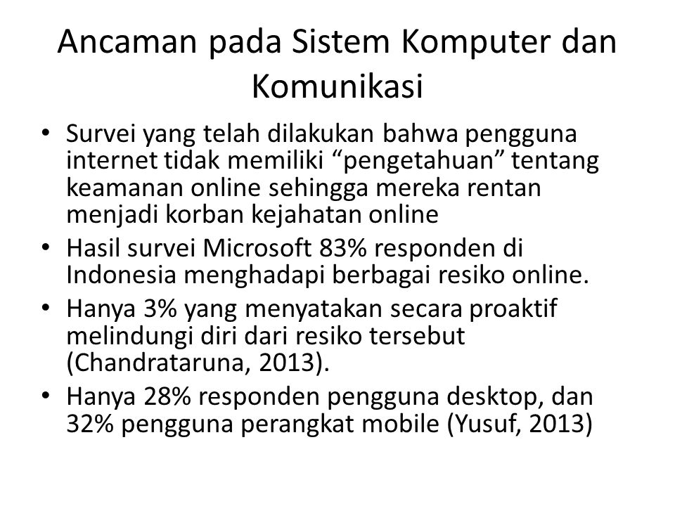 Ancaman pada Sistem Komputer dan Komunikasi