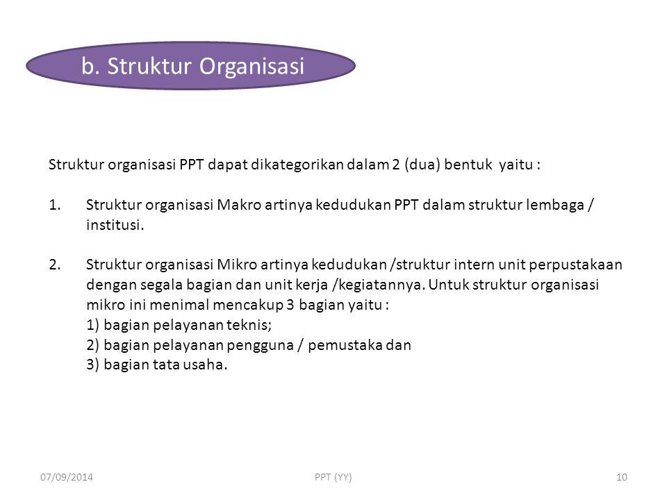 b. Struktur Organisasi Struktur organisasi PPT dapat dikategorikan dalam 2 (dua) bentuk yaitu :