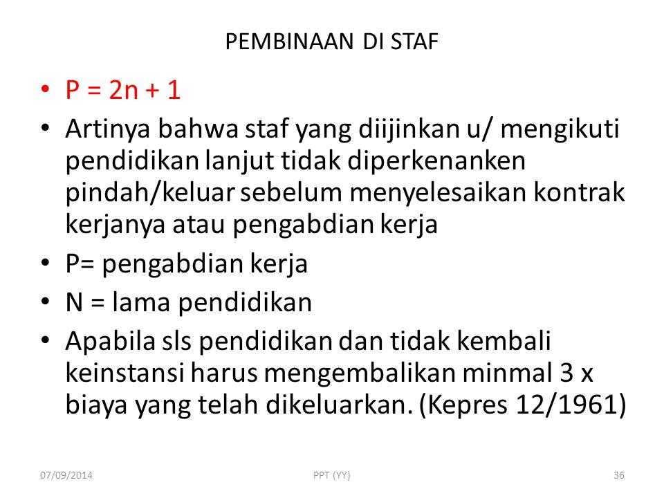 PEMBINAAN DI STAF P = 2n + 1.