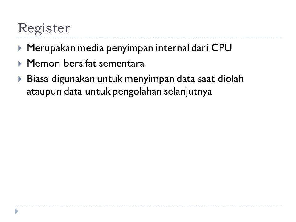 Register Merupakan media penyimpan internal dari CPU