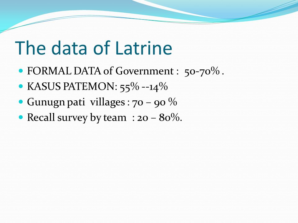 The data of Latrine FORMAL DATA of Government : 50-70% .