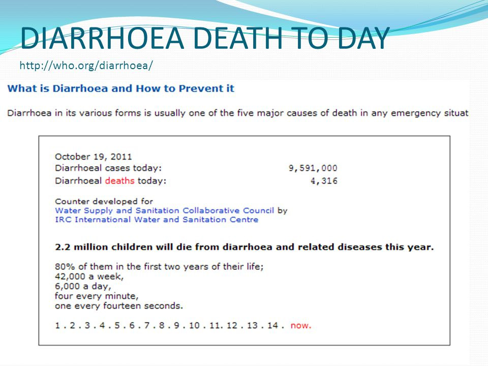 DIARRHOEA DEATH TO DAY http://who.org/diarrhoea/