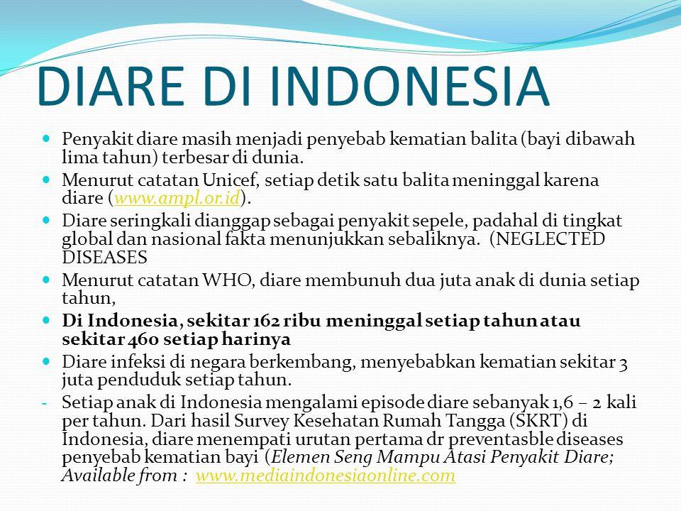 DIARE DI INDONESIA Penyakit diare masih menjadi penyebab kematian balita (bayi dibawah lima tahun) terbesar di dunia.