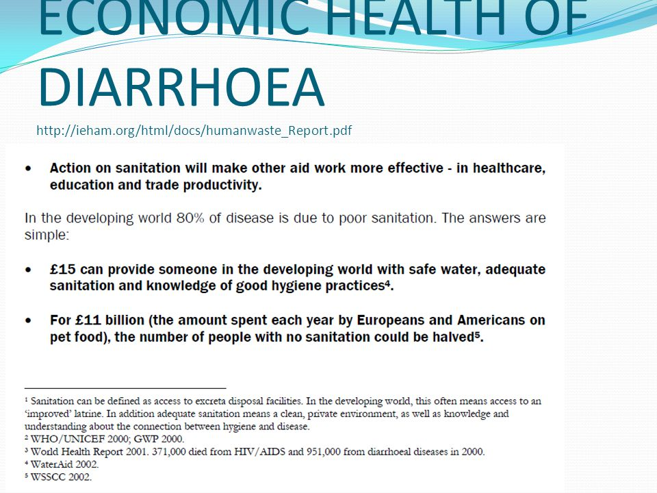 ECONOMIC HEALTH OF DIARRHOEA http://ieham