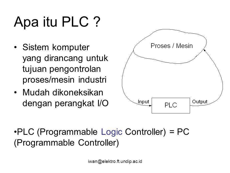 Apa itu PLC Sistem komputer yang dirancang untuk tujuan pengontrolan proses/mesin industri. Mudah dikoneksikan dengan perangkat I/O.