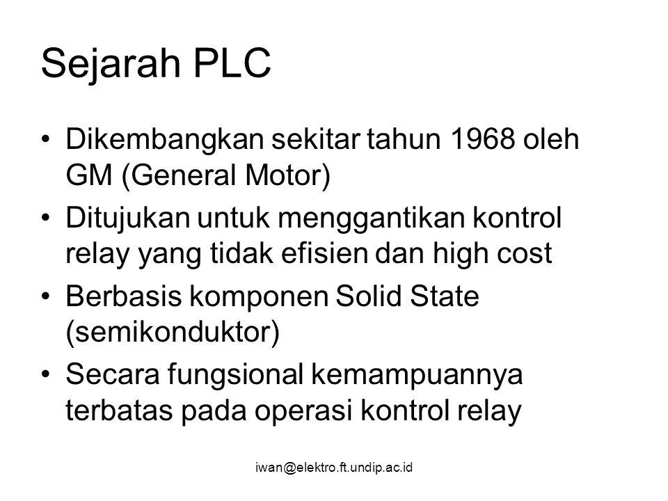 Sejarah PLC Dikembangkan sekitar tahun 1968 oleh GM (General Motor)