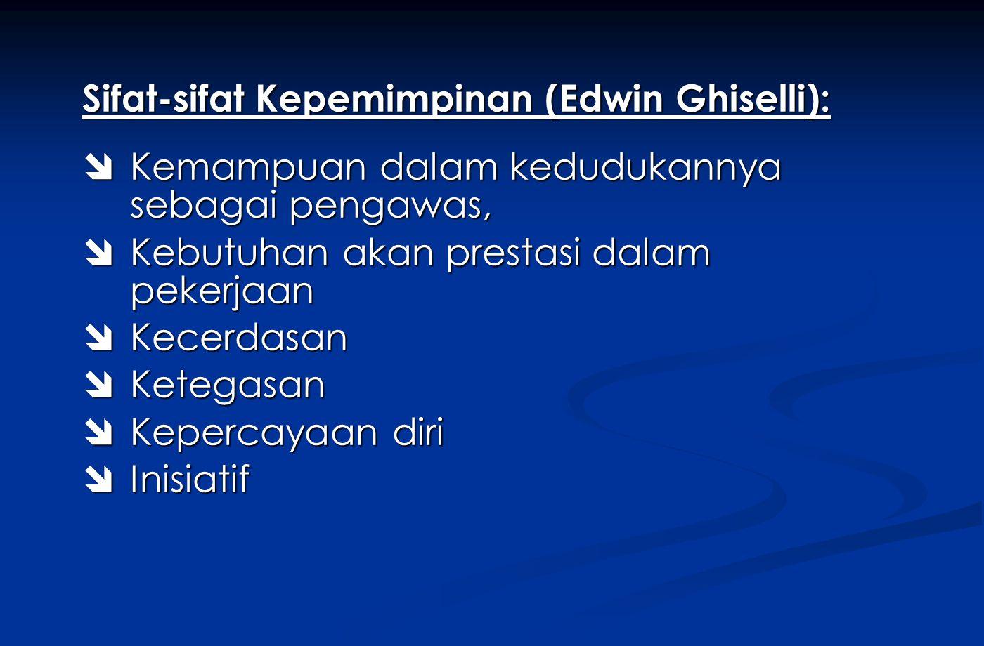 Sifat-sifat Kepemimpinan (Edwin Ghiselli):