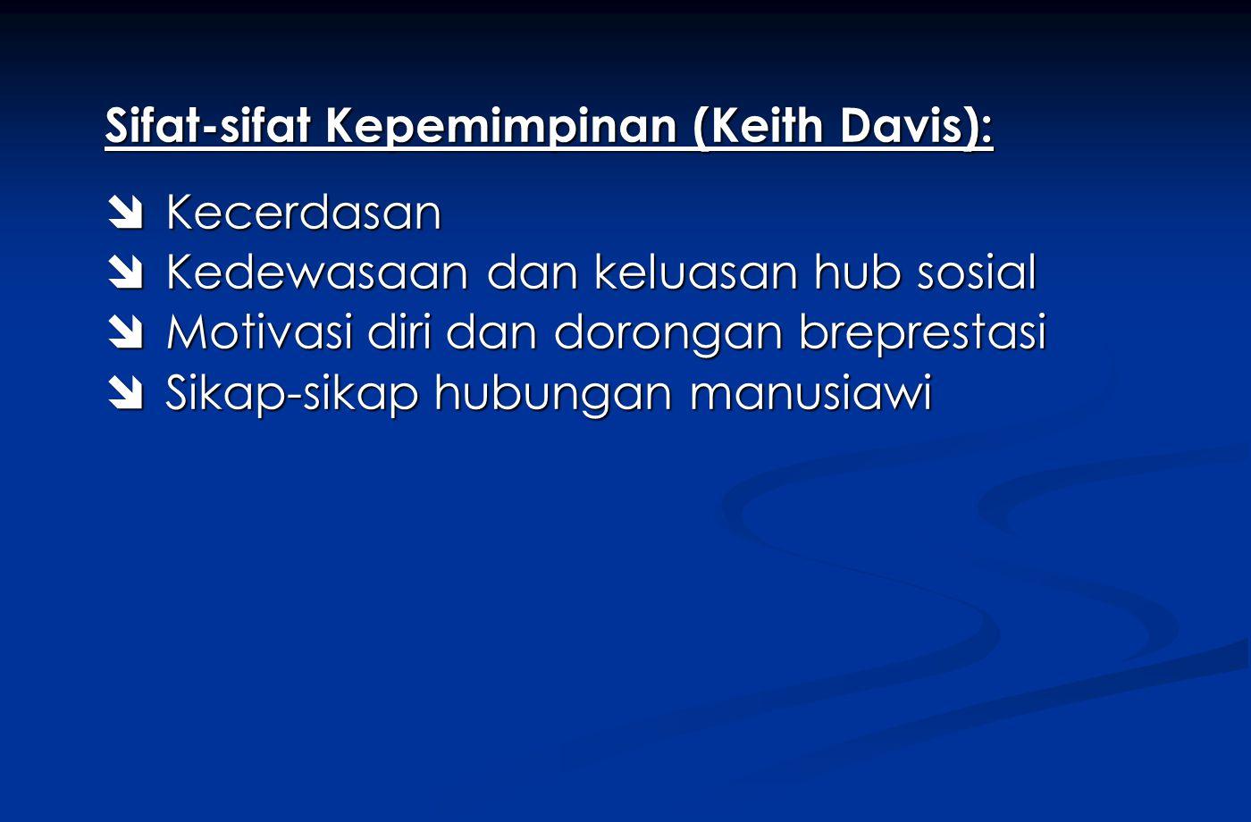 Sifat-sifat Kepemimpinan (Keith Davis):