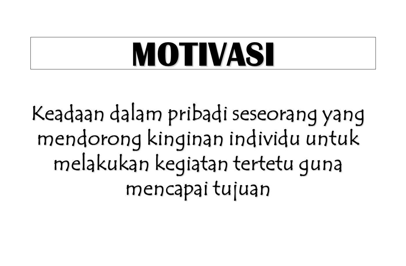 MOTIVASI Keadaan dalam pribadi seseorang yang mendorong kinginan individu untuk melakukan kegiatan tertetu guna mencapai tujuan.