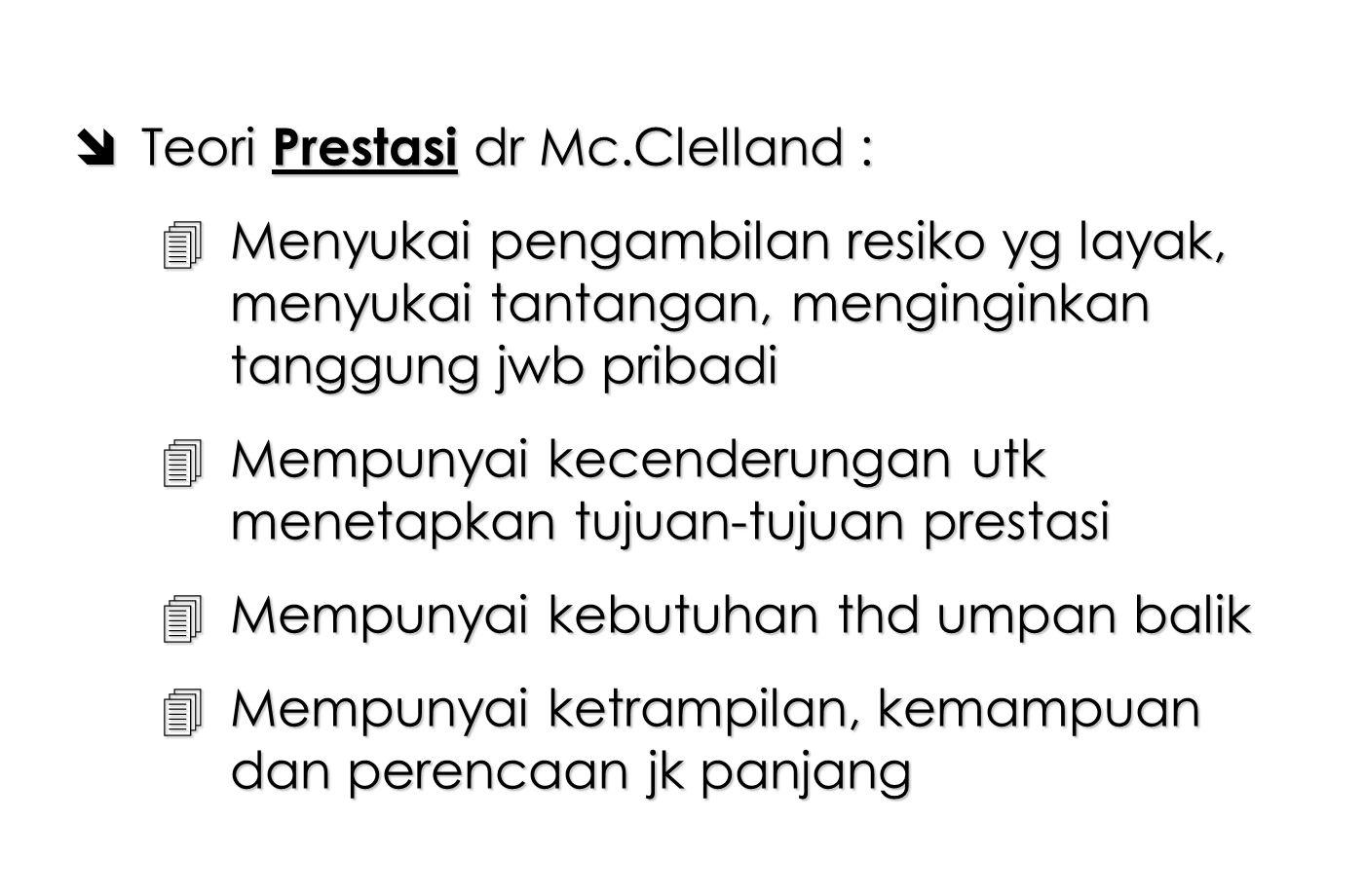 Teori Prestasi dr Mc.Clelland :