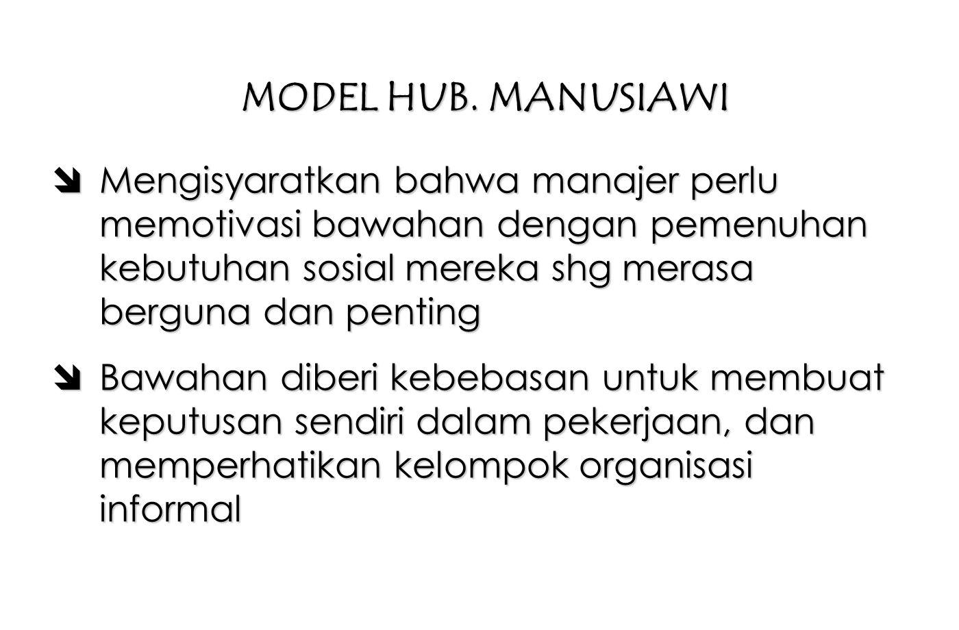 MODEL HUB. MANUSIAWI Mengisyaratkan bahwa manajer perlu memotivasi bawahan dengan pemenuhan kebutuhan sosial mereka shg merasa berguna dan penting.
