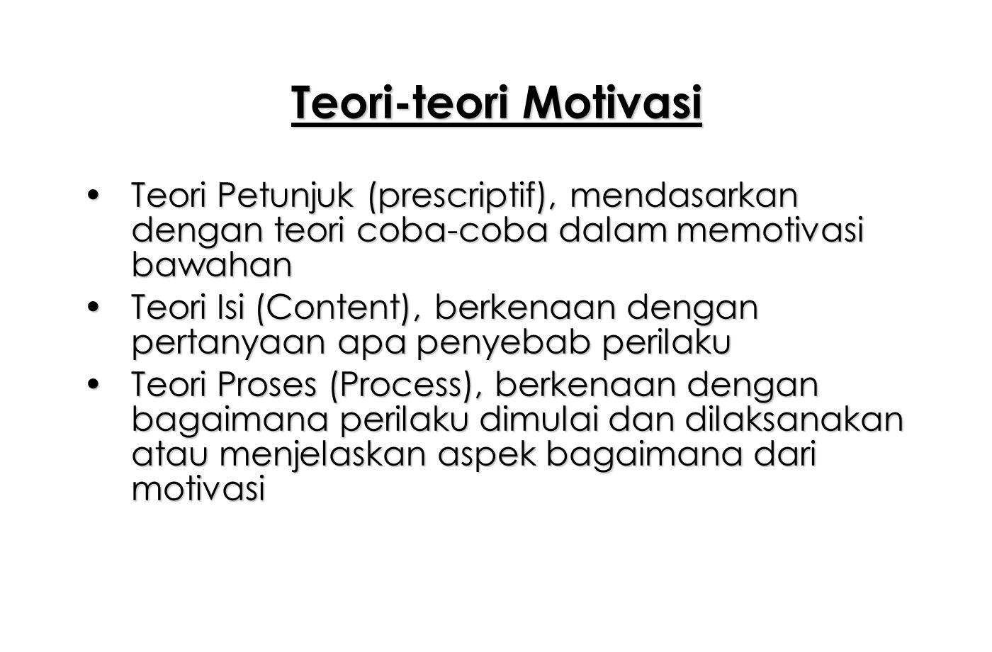 Teori-teori Motivasi Teori Petunjuk (prescriptif), mendasarkan dengan teori coba-coba dalam memotivasi bawahan.