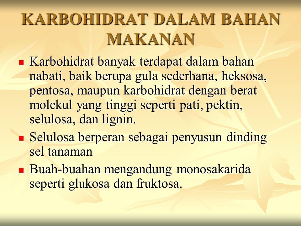 KARBOHIDRAT DALAM BAHAN MAKANAN