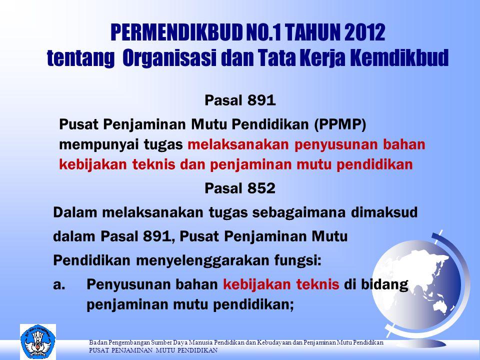 PERMENDIKBUD NO.1 TAHUN 2012 tentang Organisasi dan Tata Kerja Kemdikbud