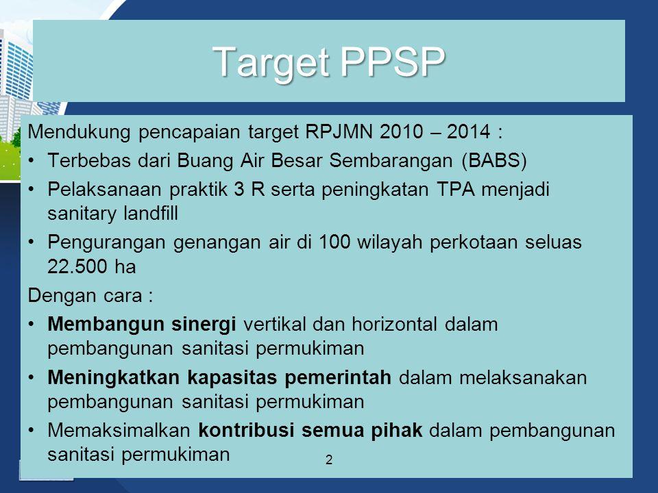 Target PPSP Mendukung pencapaian target RPJMN 2010 – 2014 :