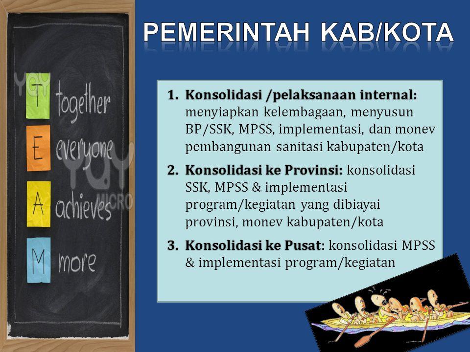Konsolidasi /pelaksanaan internal: menyiapkan kelembagaan, menyusun BP/SSK, MPSS, implementasi, dan monev pembangunan sanitasi kabupaten/kota