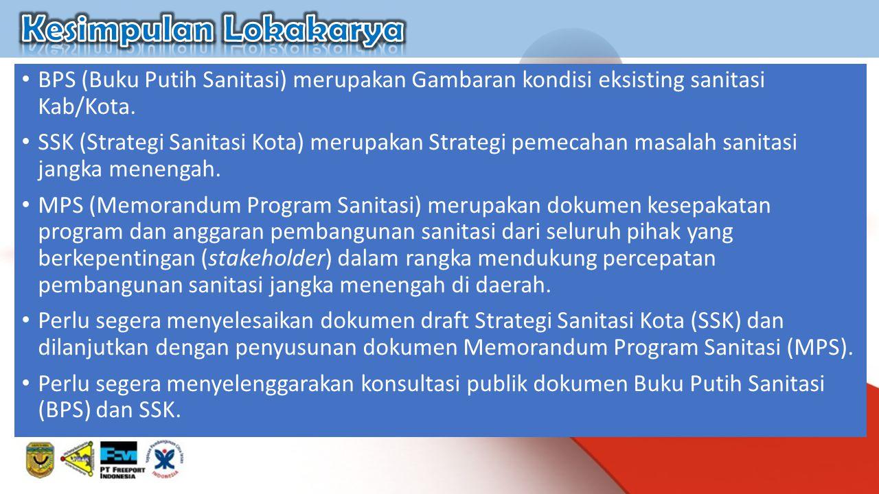 Kesimpulan Lokakarya BPS (Buku Putih Sanitasi) merupakan Gambaran kondisi eksisting sanitasi Kab/Kota.