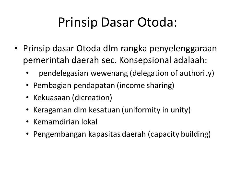 Prinsip Dasar Otoda: Prinsip dasar Otoda dlm rangka penyelenggaraan pemerintah daerah sec. Konsepsional adalaah: