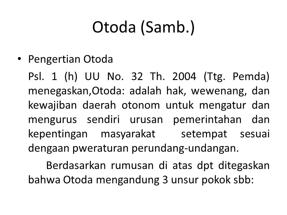 Otoda (Samb.) Pengertian Otoda