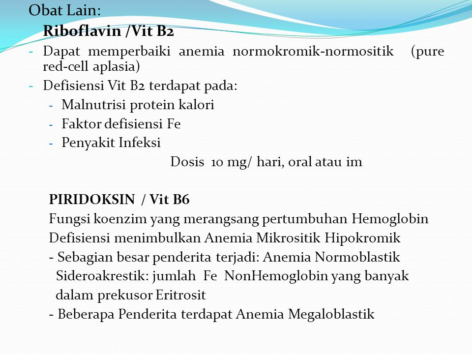 Obat Lain: Riboflavin /Vit B2