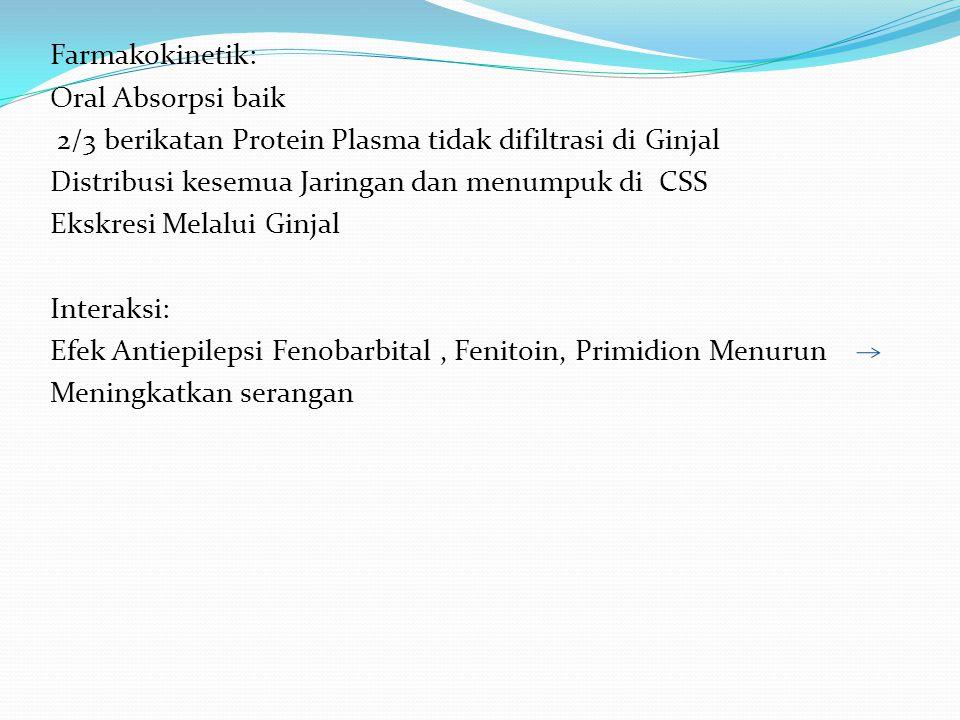 Farmakokinetik: Oral Absorpsi baik 2/3 berikatan Protein Plasma tidak difiltrasi di Ginjal Distribusi kesemua Jaringan dan menumpuk di CSS Ekskresi Melalui Ginjal Interaksi: Efek Antiepilepsi Fenobarbital , Fenitoin, Primidion Menurun Meningkatkan serangan