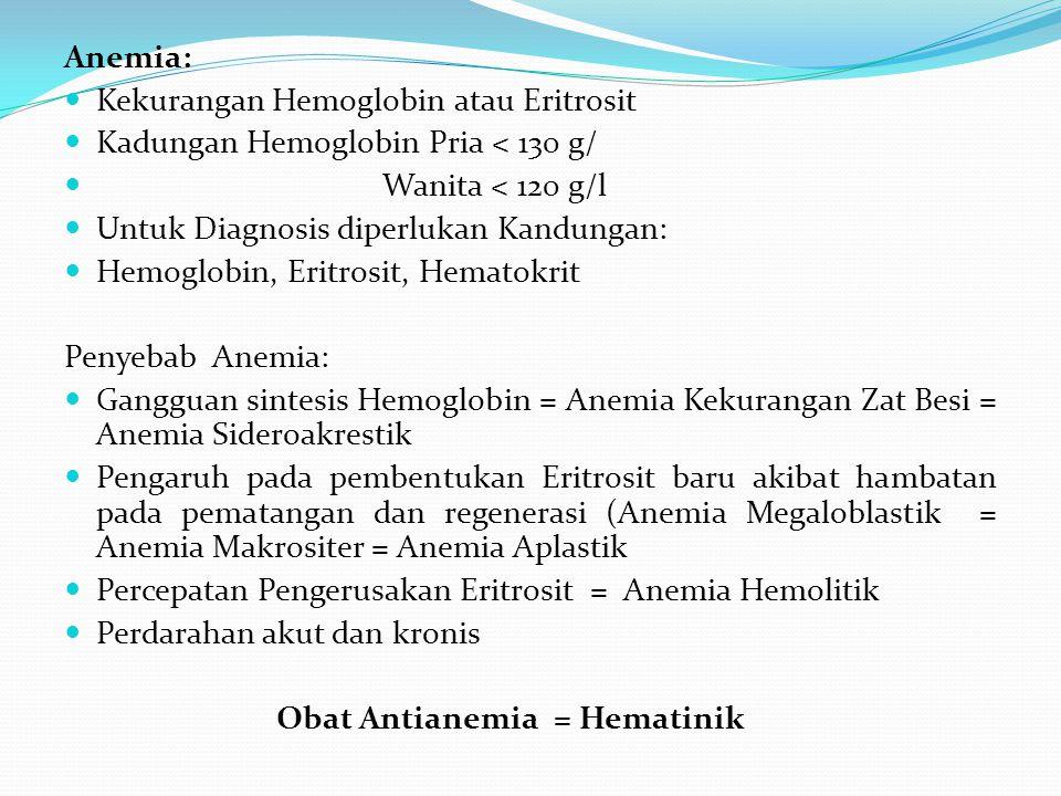 Anemia: Kekurangan Hemoglobin atau Eritrosit. Kadungan Hemoglobin Pria < 130 g/ Wanita < 120 g/l.