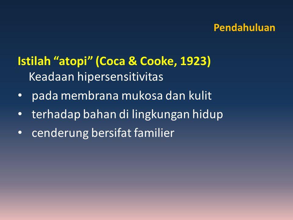 Istilah atopi (Coca & Cooke, 1923) Keadaan hipersensitivitas
