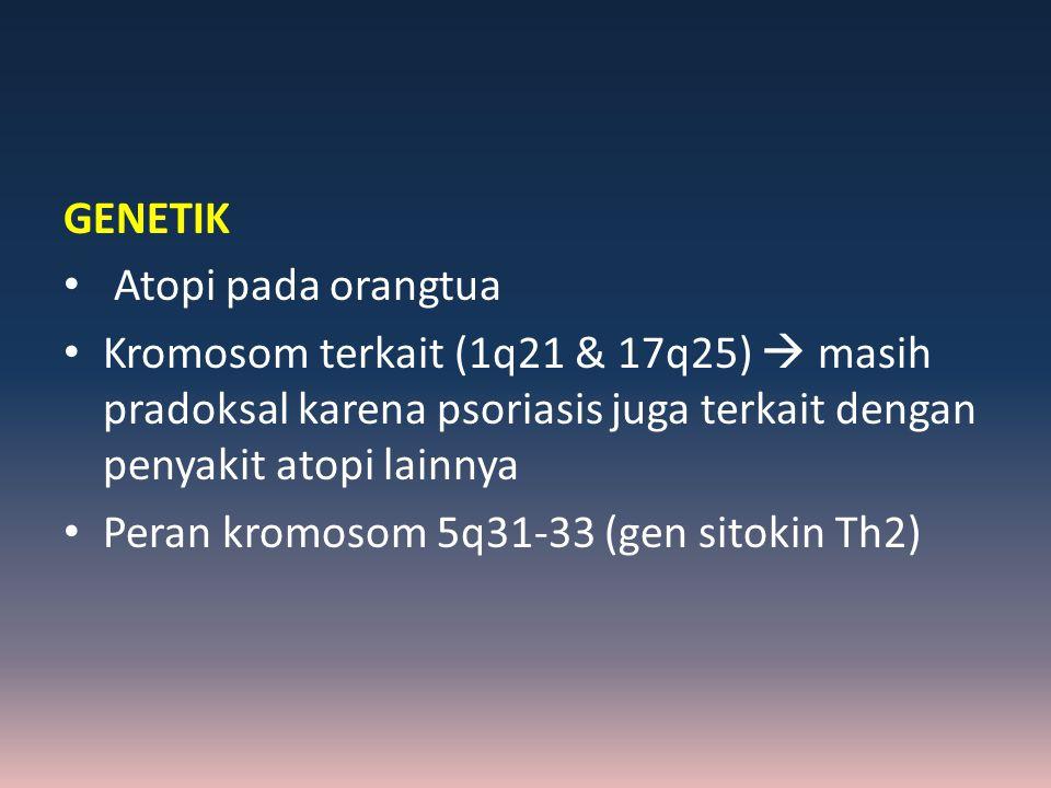 GENETIK Atopi pada orangtua. Kromosom terkait (1q21 & 17q25)  masih pradoksal karena psoriasis juga terkait dengan penyakit atopi lainnya.