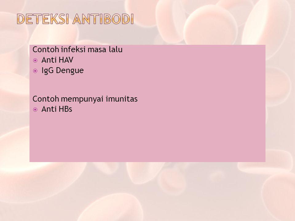 DETEKSI ANTIBODI Contoh infeksi masa lalu Anti HAV IgG Dengue