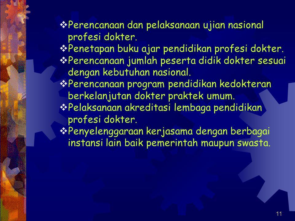 Perencanaan dan pelaksanaan ujian nasional profesi dokter.