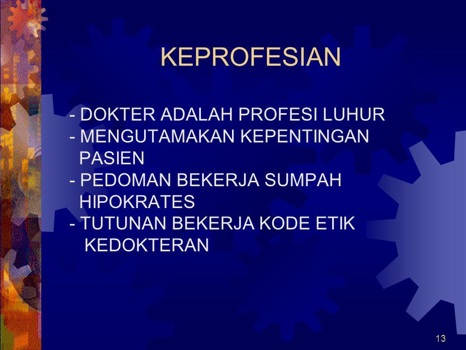 KEPROFESIAN - DOKTER ADALAH PROFESI LUHUR - MENGUTAMAKAN KEPENTINGAN