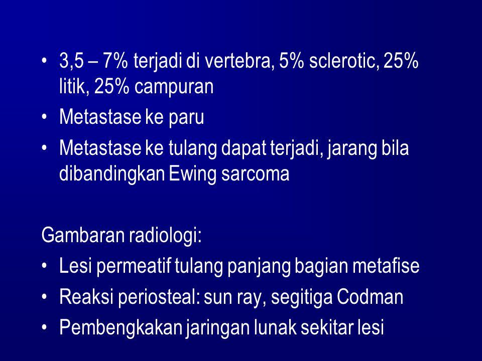 3,5 – 7% terjadi di vertebra, 5% sclerotic, 25% litik, 25% campuran