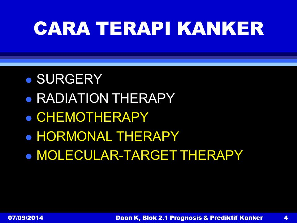 Daan K, Blok 2.1 Prognosis & Prediktif Kanker
