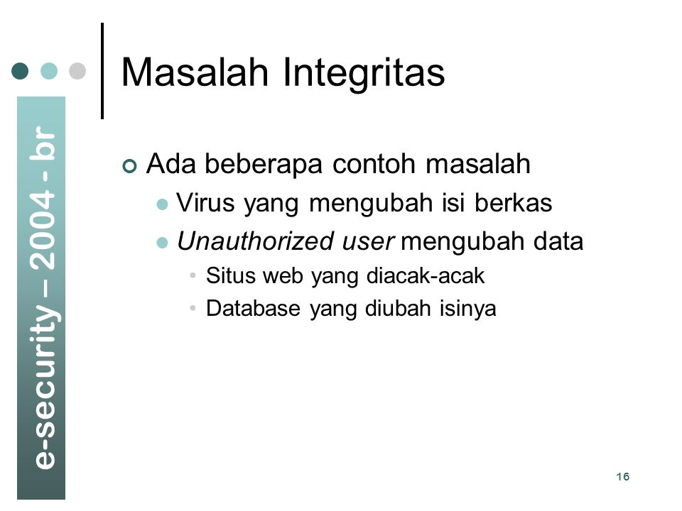 Masalah Integritas Ada beberapa contoh masalah
